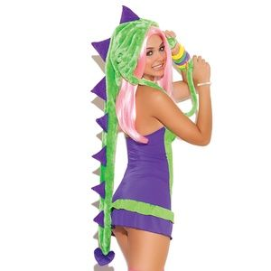 Dinosaur Costume Halter Dress Hood Horns Scales